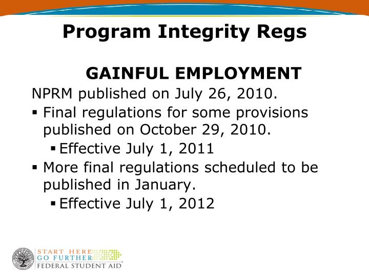 Program Integrity Regs