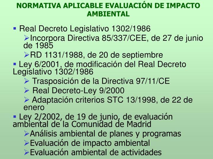 NORMATIVA APLICABLE EVALUACIÓN DE IMPACTO AMBIENTAL