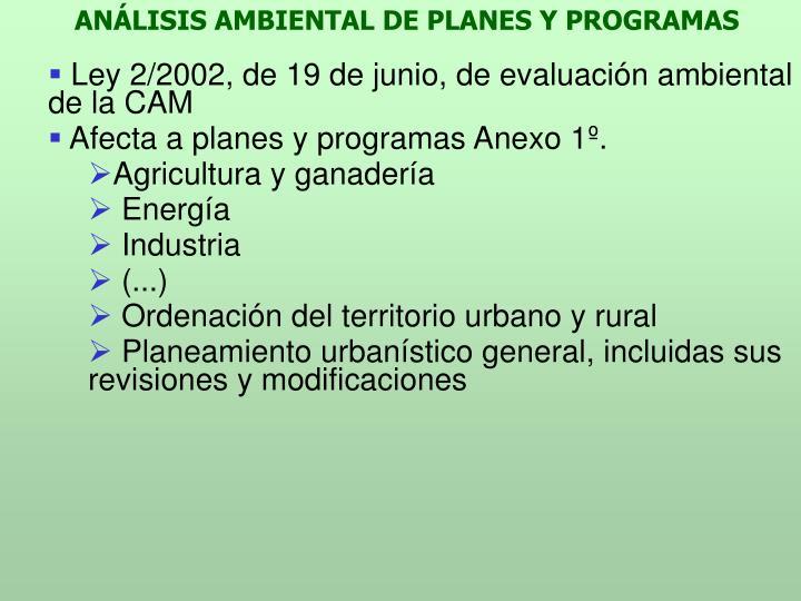 ANÁLISIS AMBIENTAL DE PLANES Y PROGRAMAS