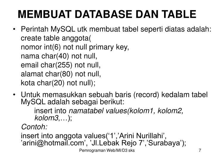 MEMBUAT DATABASE DAN TABLE