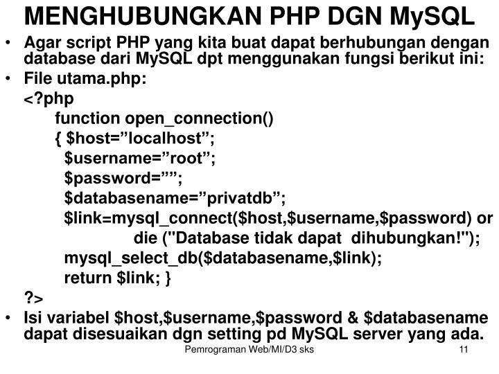 MENGHUBUNGKAN PHP DGN MySQL