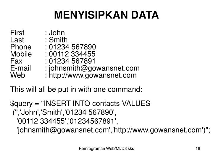 MENYISIPKAN DATA