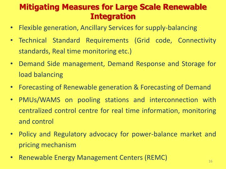 Mitigating Measures for Large Scale Renewable Integration
