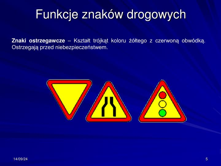Funkcje znaków drogowych