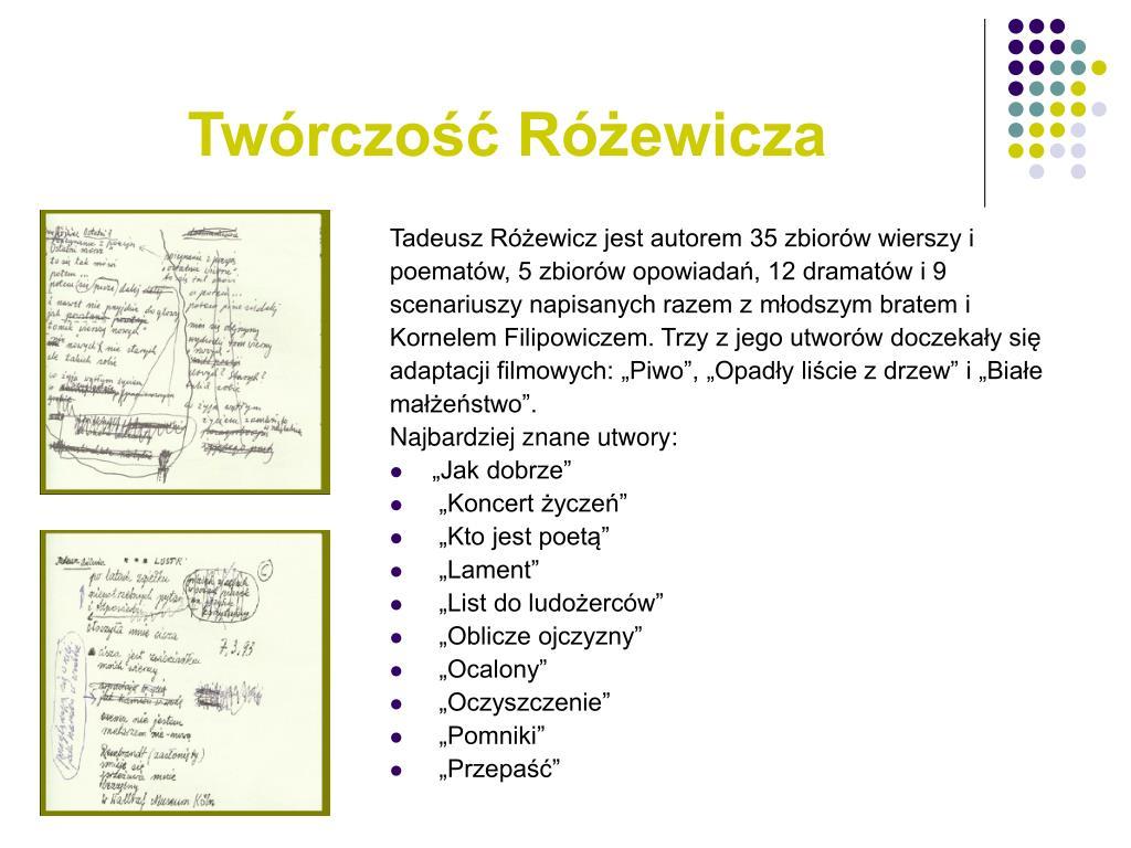 Ppt Tadeusz Różewicz Powerpoint Presentation Id4772737