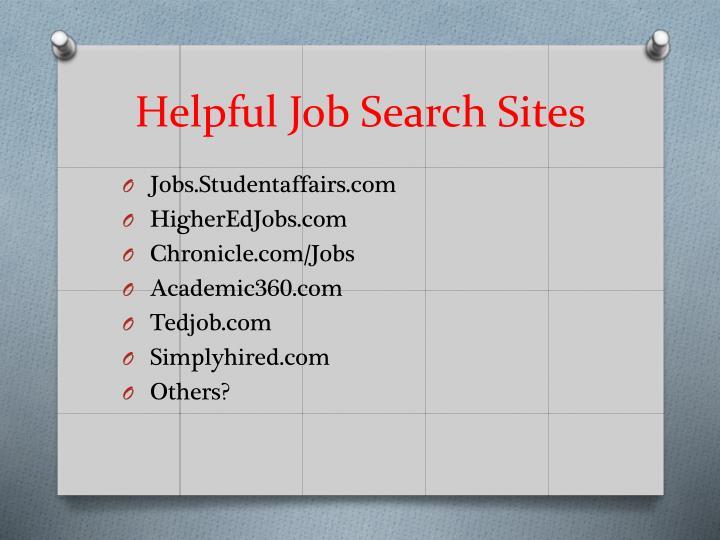 Helpful Job Search Sites