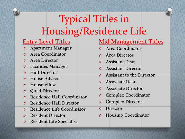 Typical Titles in Housing/Residence Life