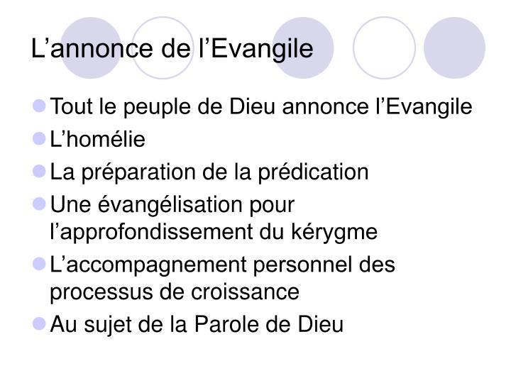 L'annonce de l'Evangile