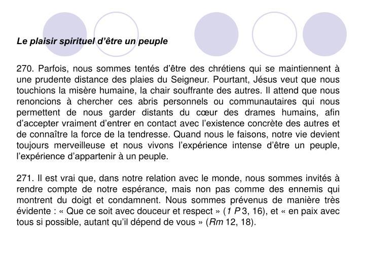 Le plaisir spirituel d'être un peuple