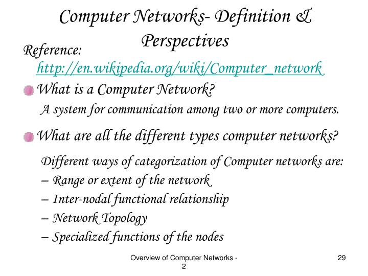 Computer Networks- Definition & Perspectives