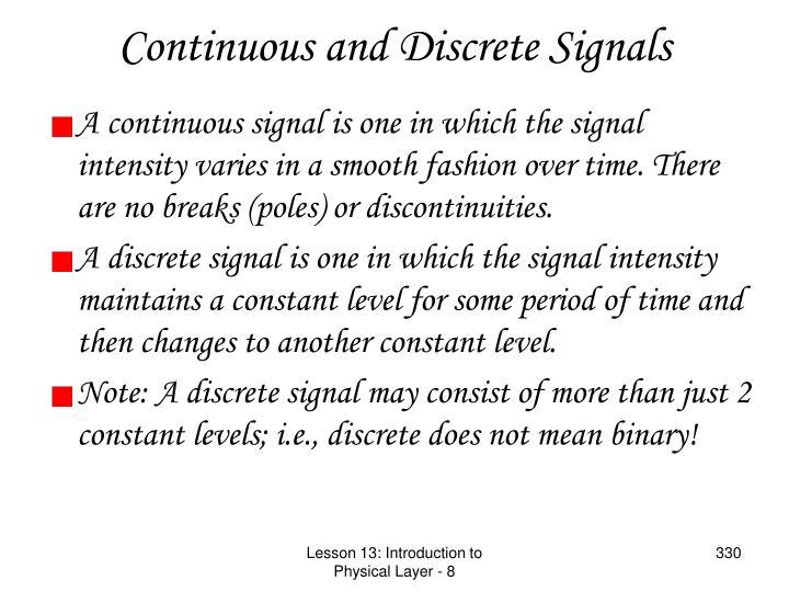 Continuous and Discrete Signals
