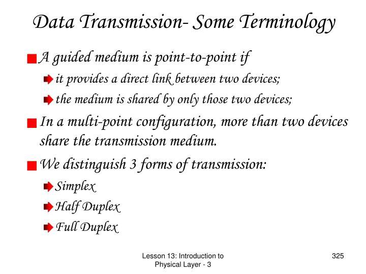 Data Transmission- Some Terminology
