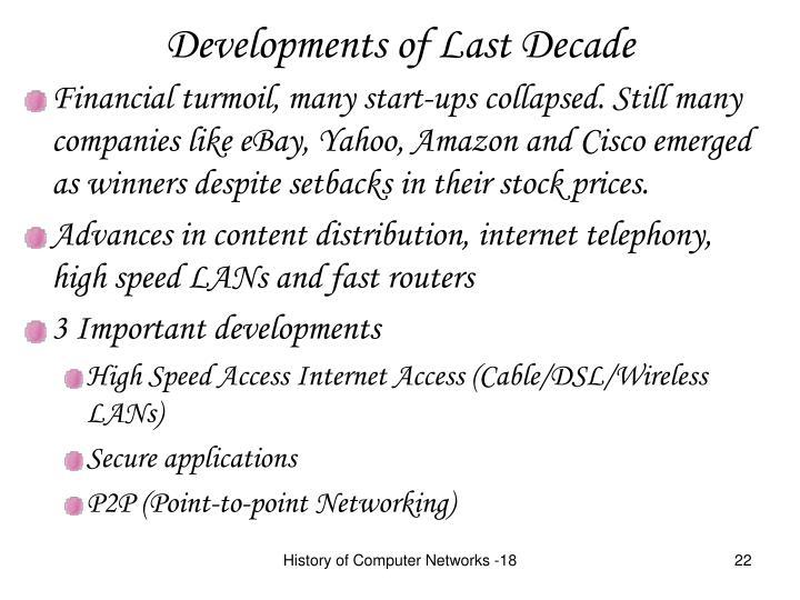 Developments of Last Decade