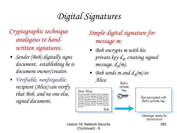 Cryptographic technique analogous to hand-written signatures.