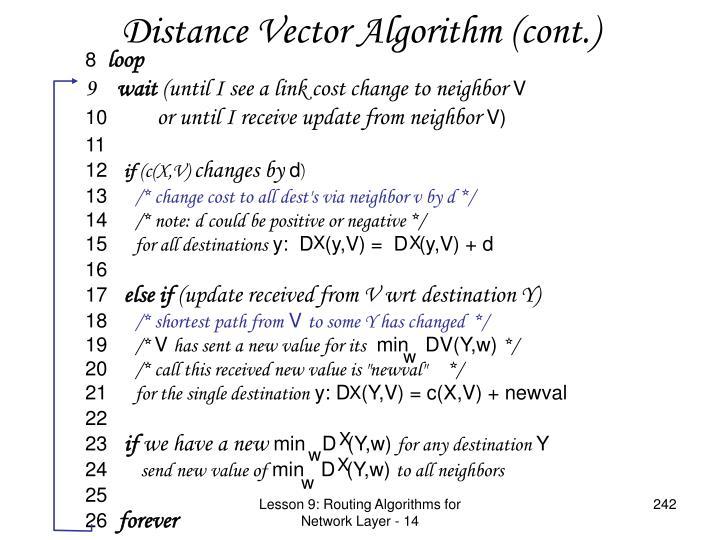 Distance Vector Algorithm (cont.)
