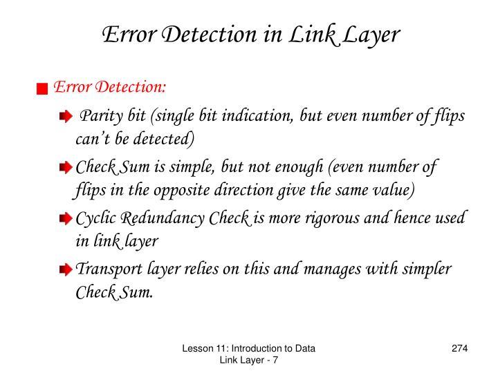 Error Detection in Link Layer