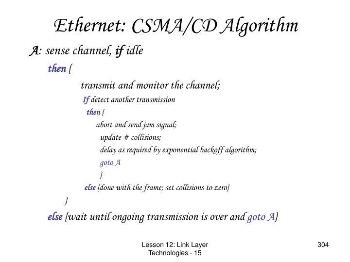 Ethernet: CSMA/CD Algorithm