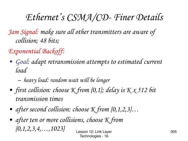 Ethernet's CSMA/CD- Finer Details