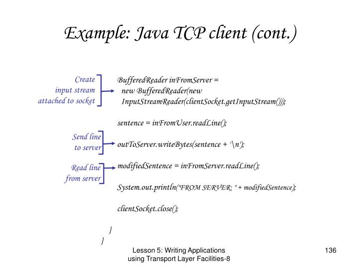 Example: Java TCP client (cont.)