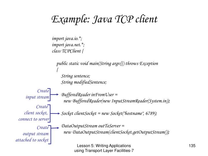 Example: Java TCP client