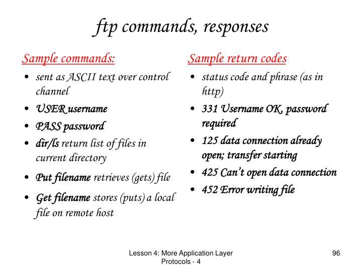 Sample commands: