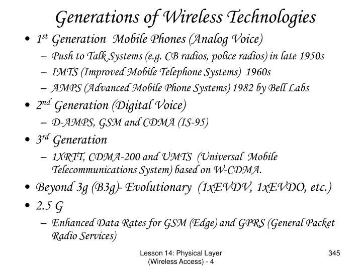 Generations of Wireless Technologies