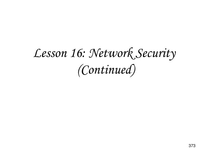 Lesson 16: Network Security