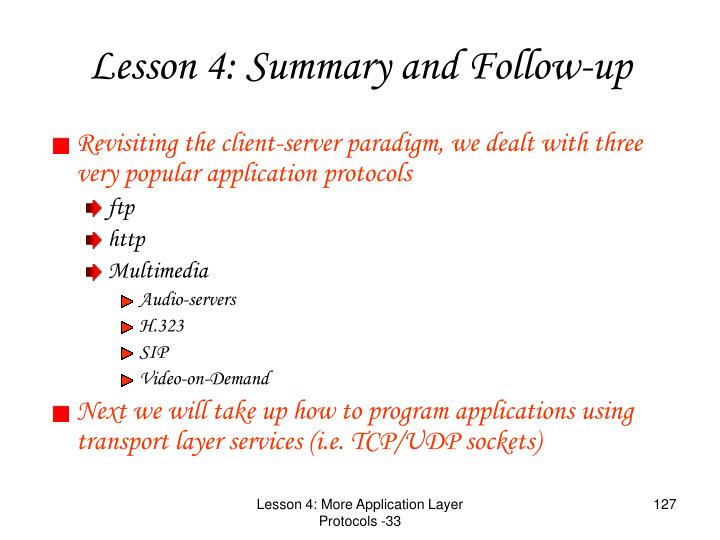 Revisiting the client-server paradigm, we dealt with three very popular application protocols