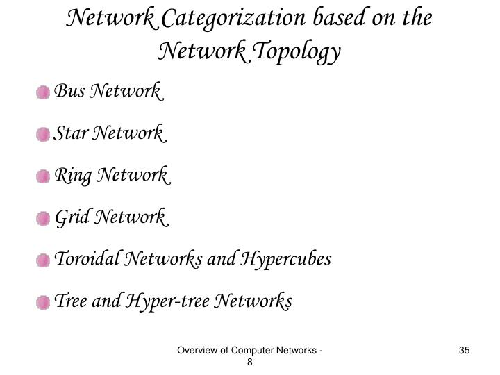 Network Categorization based on the Network Topology