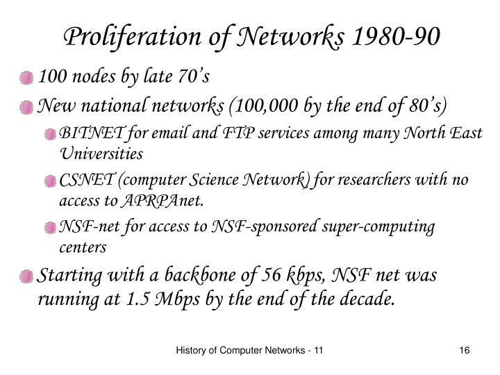 Proliferation of Networks 1980-90
