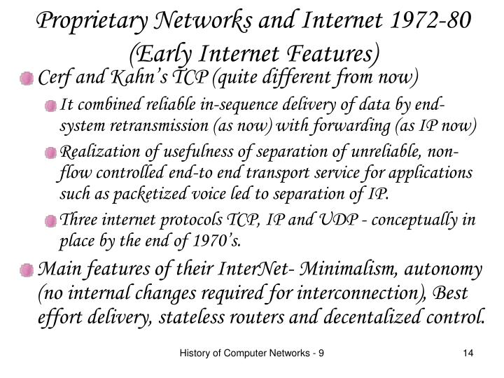 Proprietary Networks and Internet 1972-80
