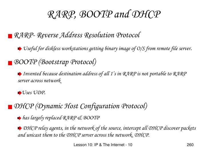 RARP, BOOTP and DHCP