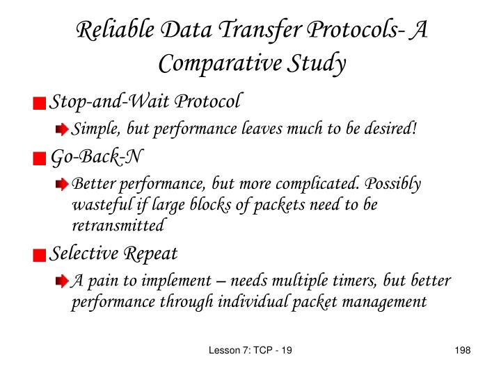 Reliable Data Transfer Protocols- A Comparative Study