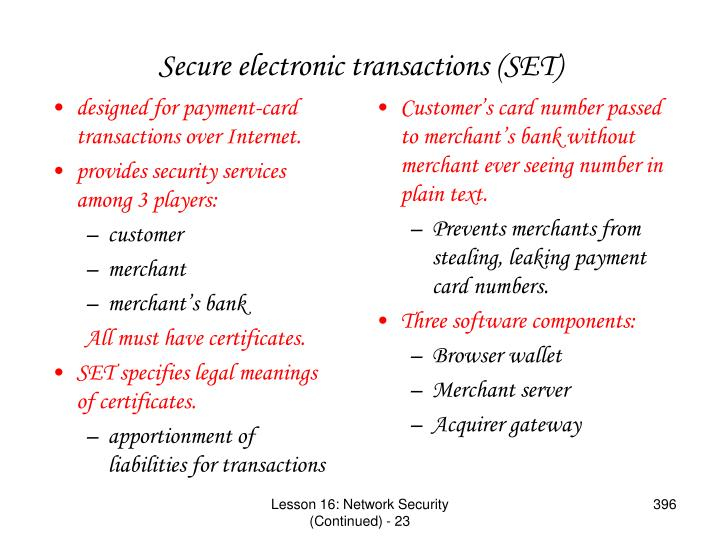 designed for payment-card transactions over Internet.
