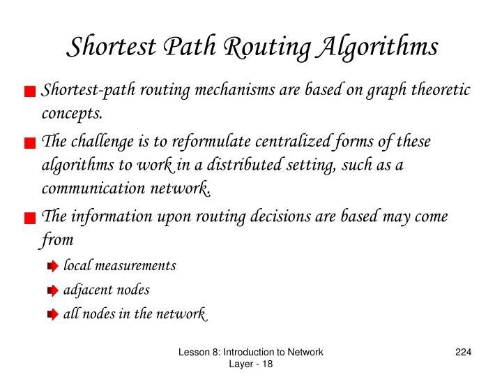 Shortest Path Routing Algorithms
