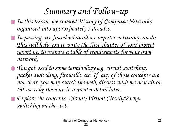 Summary and Follow-up