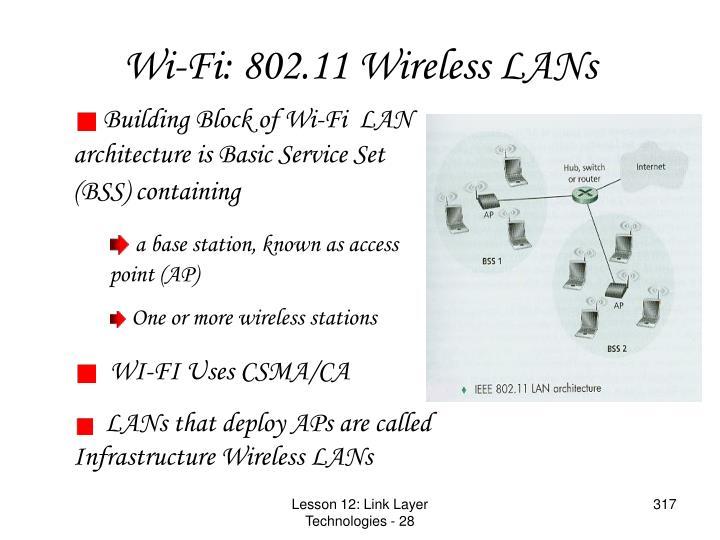Wi-Fi: 802.11 Wireless LANs