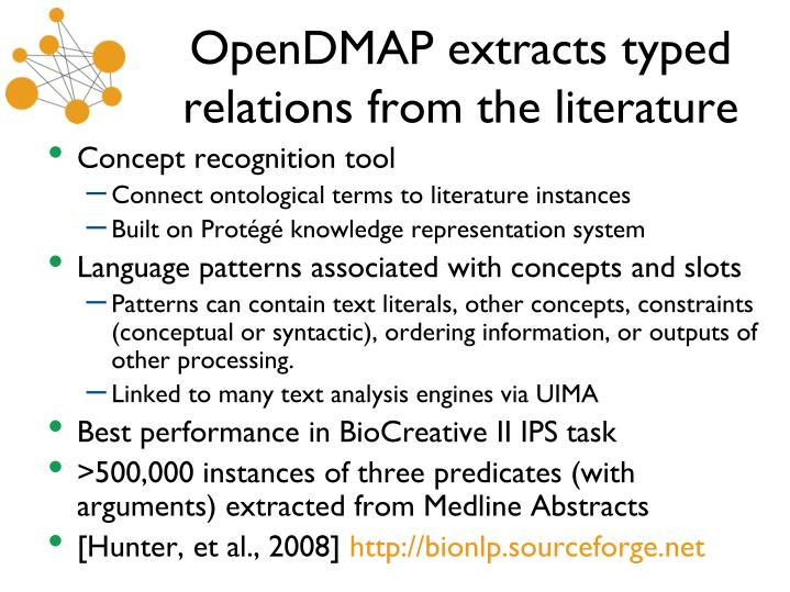 OpenDMAP extracts typed relations from the literature