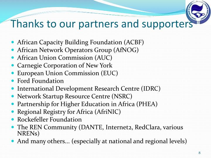 Thanks to our partners and supporters