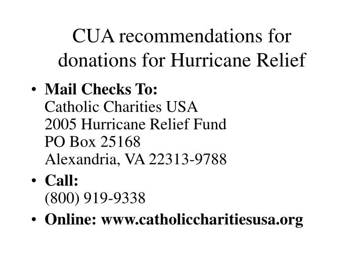 Cua recommendations for donations for hurricane relief