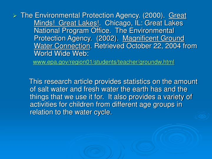 The Environmental Protection Agency. (2000).