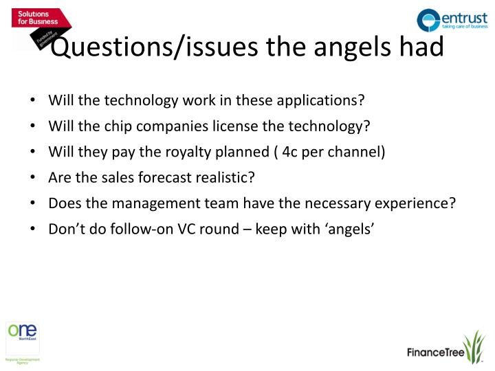 Questions/issues the angels had