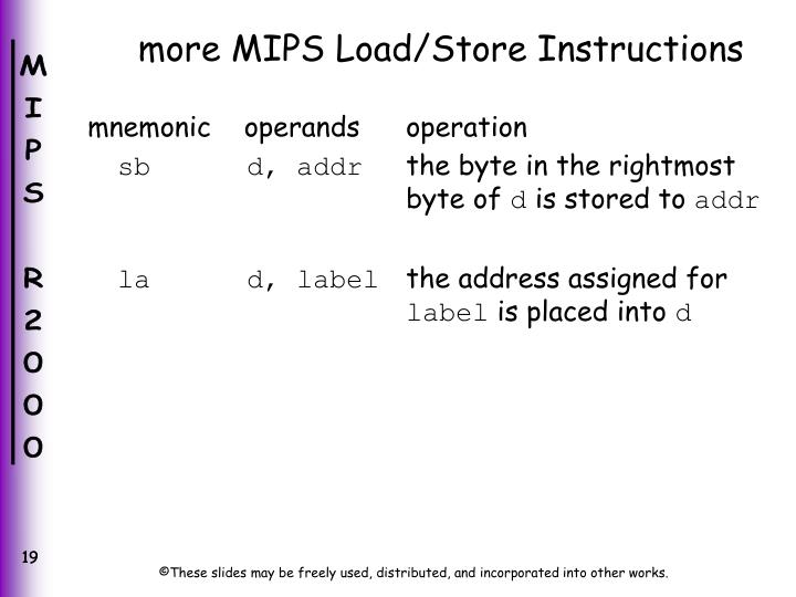 more MIPS Load/Store Instructions