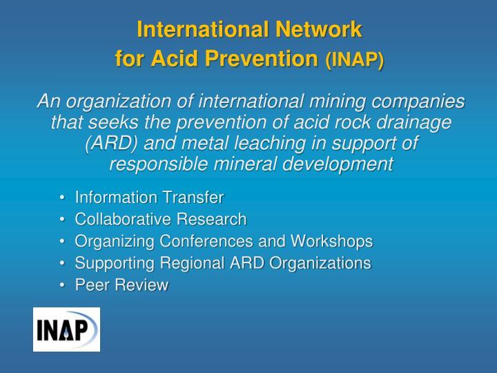 International network for acid prevention inap