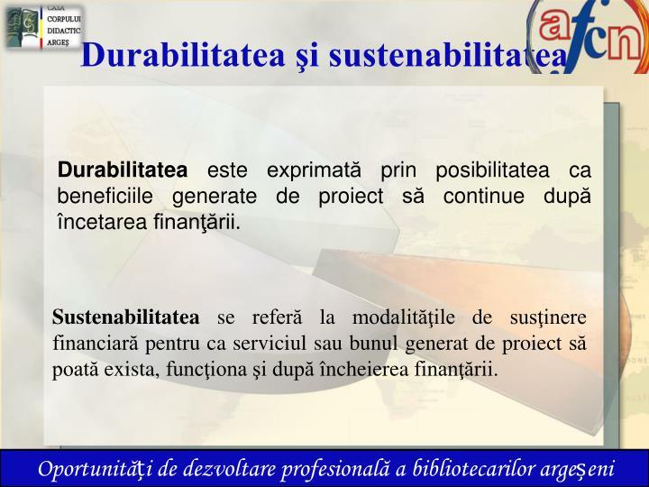 Durabilitatea şi sustenabilitatea