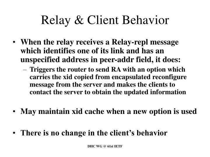 Relay & Client Behavior