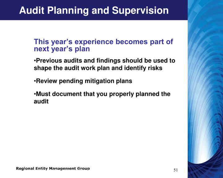 Audit Planning and Supervision