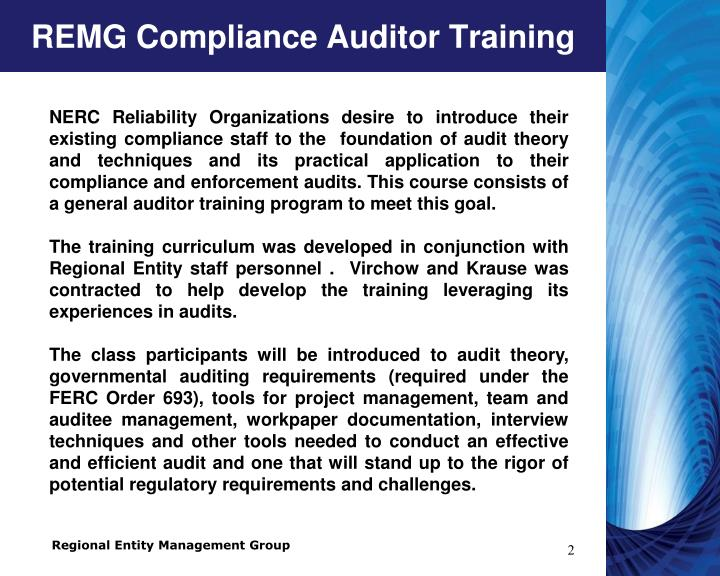 Remg compliance auditor training