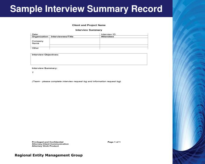 Sample Interview Summary Record