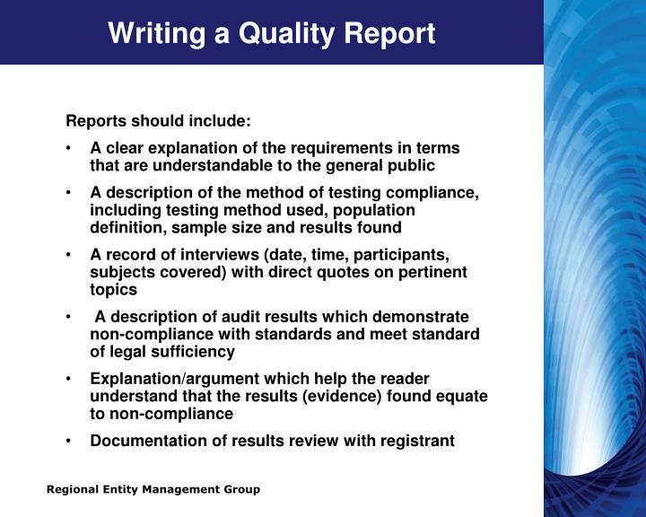 Writing a Quality Report